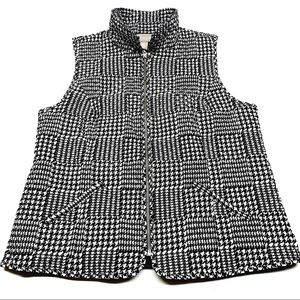 ❤️ Chicos Houndstooth Quilted Puff Vest Pockets